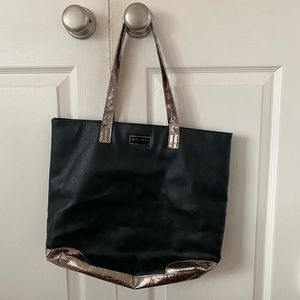Black faux leather rose gold snakeskin tote bag
